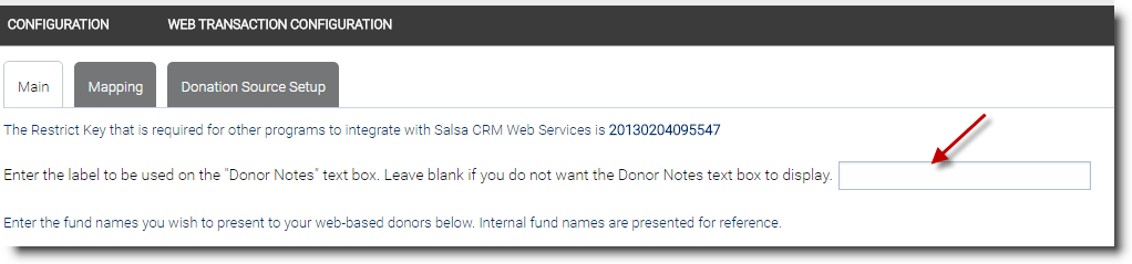 Configuration Web Donations Salsa Knowledgebase