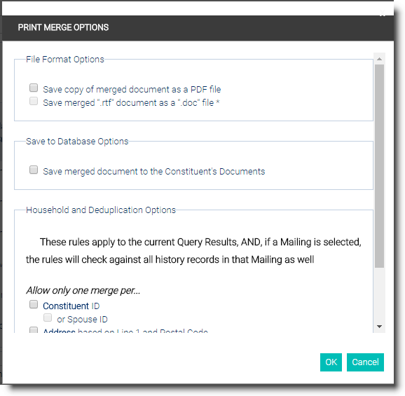 Mail Merge: Creating From An Existing Or Previously Run