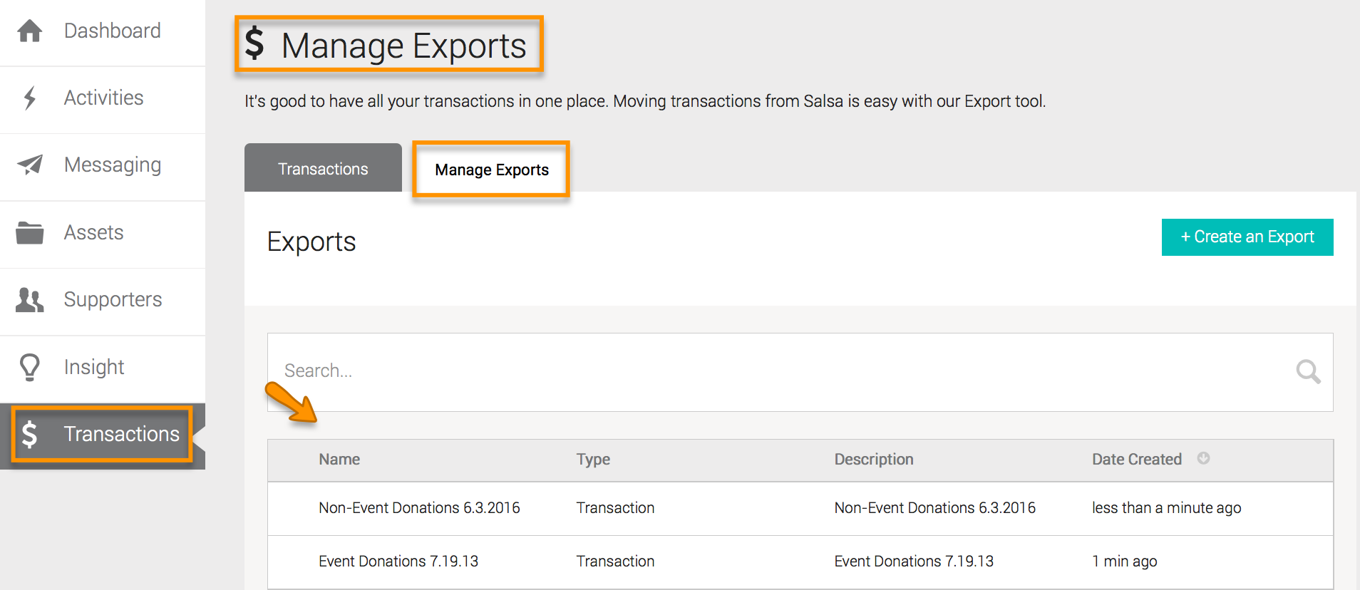 Manage Exports Tab – Salsa Help Center